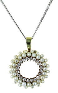 Vintage Pearl and Diamond Necklace
