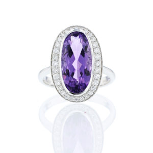 Amethyst and Diamond Oval Ring