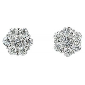 White and Gold Diamond Earrings